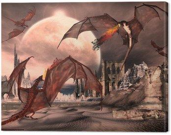 Obraz na Płótnie Scena Fantasy Z Fighting Dragons