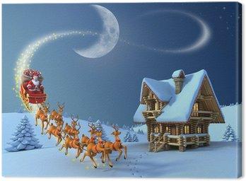 Obraz na Płótnie Scena nocy Boże Narodzenie - Santa Claus renifer sanie przejażdżki