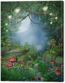 Obraz na Płótnie Ścieżka w lesie z lampionami