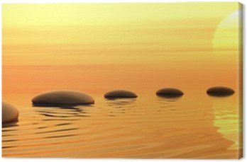 Ścieżka z kamieni zen na zachód słońca w widescreen