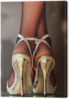 Obraz na Płótnie Seksowna kobieta w złotych szpilkach