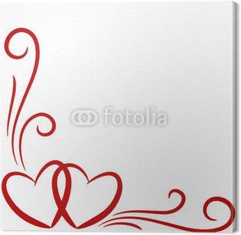 Obraz na Płótnie Serca, tło, kartka, zakrzywione linie 1