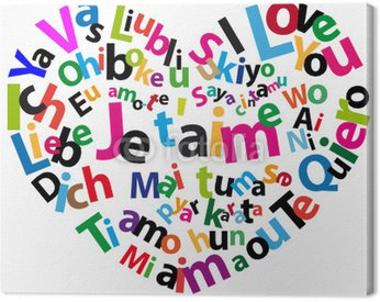 """Obraz na Płótnie Serce z """"Kocham Cię"""" w różnych językach"""