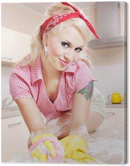 Obraz na Płótnie Sexy dziewczyna sprzątanie