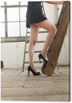 Obraz na Płótnie Sexy kobieta na drabinie kariery