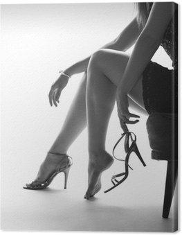 Obraz na Płótnie Sexy kobieta nogi i buty na obcasie, białe tło
