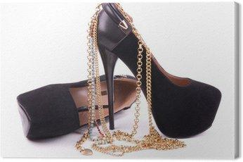 Obraz na Płótnie Sexy modne buty, biżuteria złota