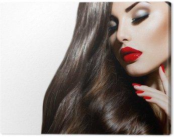 Obraz na Płótnie Sexy piękna dziewczyna z czerwonymi ustami i paznokciami. prowokacyjne makijażu