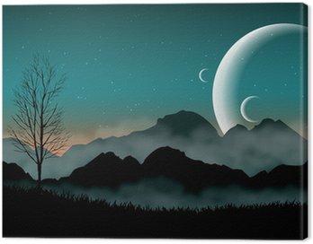 Obraz na Płótnie Sf nocne niebo z miejsca sylwetka góry i bliskich planet