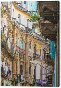 Obraz na Płótnie Shabby rozpada stare budynki w Starej Hawanie