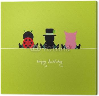 """Obraz na Płótnie Siedząc Biedronka, komin Sweeper & Pig """"Happy Birthday"""""""