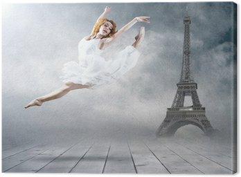 Obraz na Płótnie Siedzenia tancerz kobieta pozowanie na tle Eifel Tower