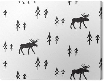 Skandynawski styl proste czarno-białe jelenie szwu. Jelenie i sosny monochromatyczny sylwetka wzór.