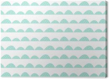 Obraz na Płótnie Skandynawski szwu mięty wzór w stylu rysowane ręcznie. Stylizowane rzędy Hill. Fala prosty wzór do tkanin, tkanin i bielizny niemowlęcej.