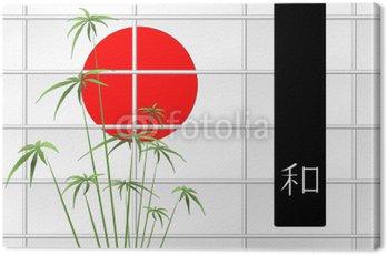 Obraz na Płótnie Skład Ikebana z japońskim czerwone słońce i ideogram