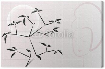 Obraz na Płótnie Skład ikebana z oknami, księżyc i gejsza