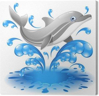 Obraz na Płótnie Skoki delfinów szczęśliwy cartoon-Delfino salta w acqua