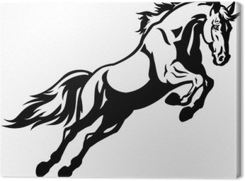 Obraz na Płótnie Skoki konia czarny biały