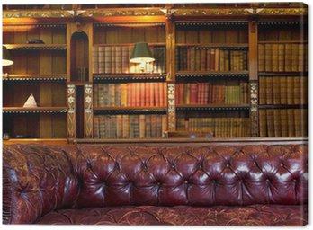 Obraz na Płótnie Skórzana kanapa i biblioteka retro