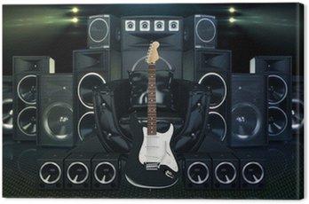 Obraz na Płótnie Skórzana kanapa otoczony głośników i gitara elektryczna