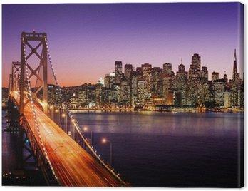 Obraz na Płótnie Skyline San Francisco i Bay Bridge o zachodzie słońca, california