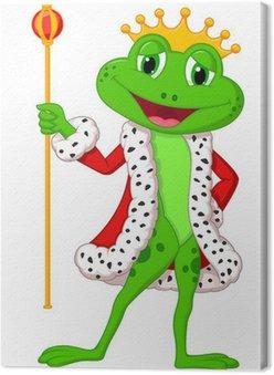 Obraz na Płótnie Śliczne królewskiej król żaba z kijem