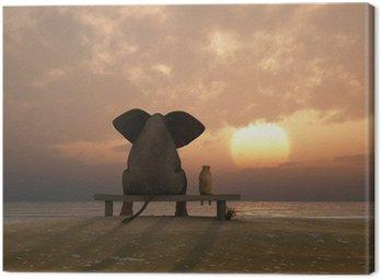 Obraz na Płótnie Słoń i pies siedzieć na plaży latem