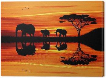 Obraz na Płótnie Słoń sylwetka na zachodzie słońca