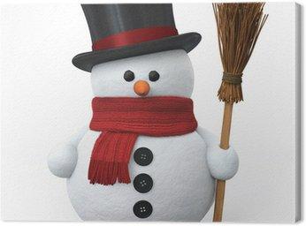 Obraz na Płótnie Snowman z kapelusza i miotły