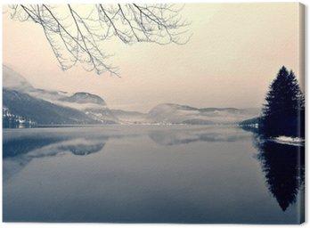 Obraz na Płótnie Snowy zimowy krajobraz nad jeziorem w czerni i bieli. Obraz monochromatyczny filtrowany w stylu retro, vintage z miękki, czerwony filtr i trochę hałasu; nostalgiczna koncepcja zimowym. Jezioro Bohinj, Słowenia.