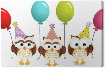 Obraz na Płótnie Sowy urodzinowa z balonów