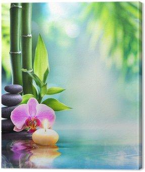 Obraz na Płótnie Spa martwa natura - Świeca i kamienia z bambusa w przyrodzie na water__