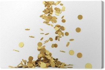 Obraz na Płótnie Spada złote monety samodzielnie