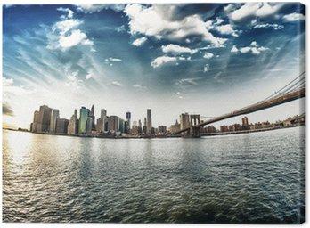 Obraz na Płótnie Spektakularny widok na Brooklyn Bridge z Brooklyn brzegu na winte