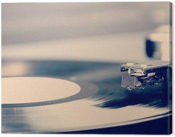 Obraz na Płótnie Spinning płycie winylowej. Motion blur obrazu. Vintage stonowanych.