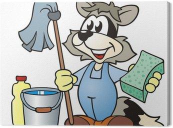 Obraz na Płótnie Sprzątanie Racoon