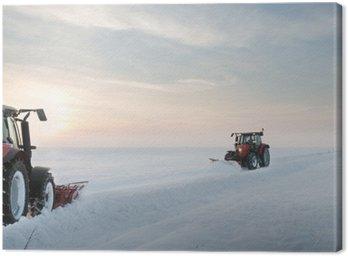 Obraz na Płótnie Sprzątanie śniegu ciągnik