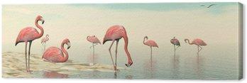 Obraz na Płótnie Stado różowych flamingów - 3D render
