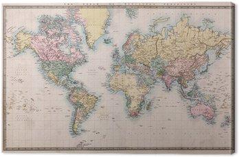 Obraz na Płótnie Stara mapa świata na antyczne projekcji mercators