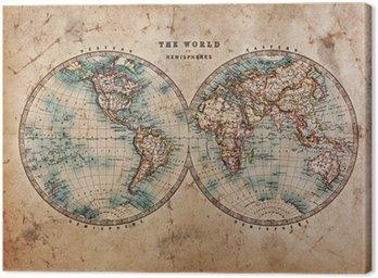 Obraz na Płótnie Stara mapa świata na półkuli