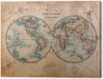 Stara mapa świata na półkuli