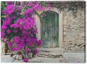 Obraz na Płótnie Stare drewniane drzwi i bugenwilli