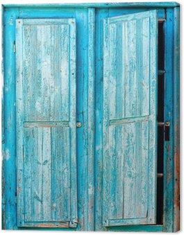 Obraz na Płótnie Stare niebieskie drewniane okiennice