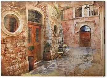 Obraz na Płótnie Stare uliczki Grecji - artystyczny retro piture