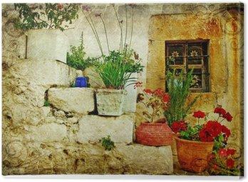 Obraz na Płótnie Stare wioski Grecji - artystycznym stylu retro