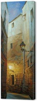 Obraz na Płótnie Starożytny nocy ulica w Dzielnicy Gotyckiej, illustrati