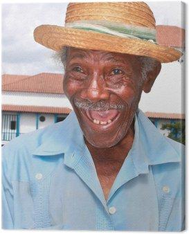 Obraz na Płótnie Stary człowiek sympatyczny kubańska słomkowym kapeluszu zrobić śmieszną twarz, Kuba