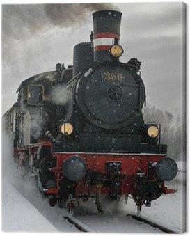 Stary parowóz w śniegu