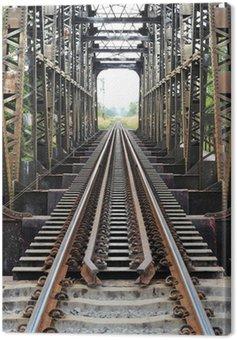 Obraz na Płótnie Stary pociąg Stal mostu na rzece