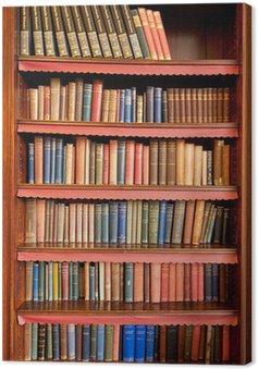 Stary regał z rzędami książek w starożytnej bibliotece